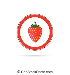 strawberry red vector sign
