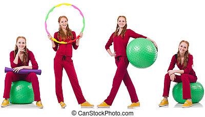 Set of model photos in health concept
