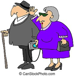 Grandparents Visit - This illustration depicts an old man...