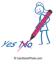 Stickwoman Pen Ja Nein - Female stickman with pen and text...