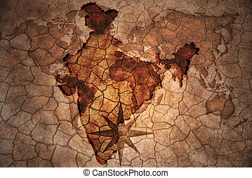 vintage india map - india map on vintage crack paper...