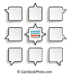 9 Quadratic Speech Bubbles White Background - 4 rectangle...