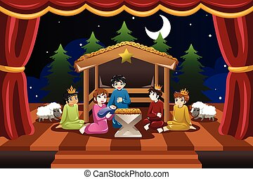 Kids Playing in Christmas Drama - A vector illustration of...