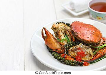 kampot, pimenta, verde, carangueijo