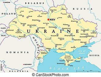 Ukraine Political Map - Ukraine political map with capital...