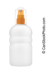Lotion bottle isolated on white Makeup Cosmetics