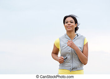 Healthy african american woman running