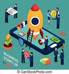 Business startup launch concept isometric poster - New...