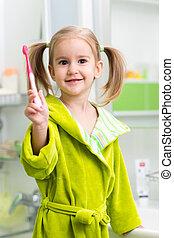 Spazzolatura, bagno, denti, ragazza, bambino