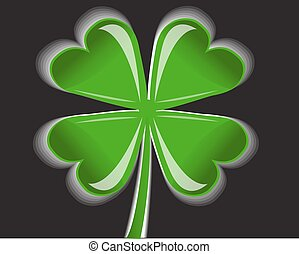 four-leaf clover - shiny four-leaf clover on a black...