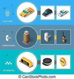 Taxi isometric flat informative banners set - Taxi car...