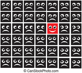 public conduct - black squares with the image of sad faces...