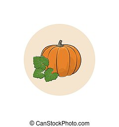 Icon of a Ripe Orange Pumpkin