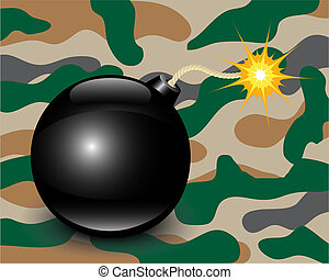 Bomb on camouflage background - shiny bomb on a green...