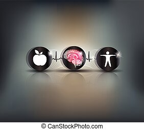 Brain heath care symbol - Healthy food and activity leads to...