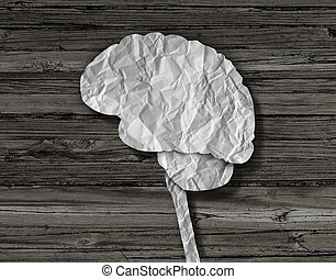 Brain Paper - Brain paper medical concept as a crumpled...