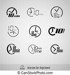 10 minutes vector icons