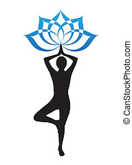 Yogi and lotus flower - silhouette of a woman is doing yoga...