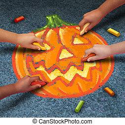 Halloween Children - Halloween children drawing a jack o...