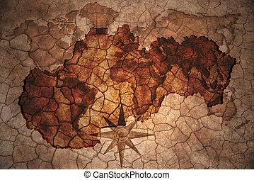 vintage slovakia map - slovakia map on vintage crack paper...