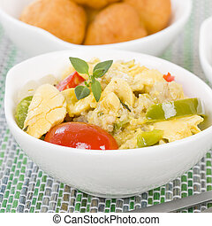 Ackee & Saltfish - Traditional Jamaican dish made of salt...