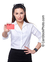 Business woman holding credit card - Portrait of young...