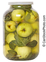 Pickled apples in a glass jar