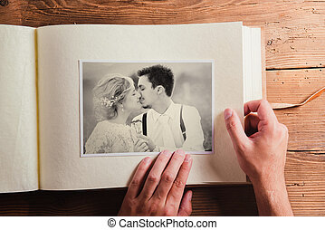 Wedding photo - Picture of bride and groom in photo album....