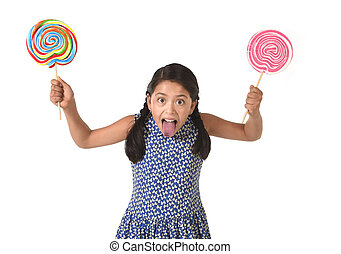 happy female child holding two big lollipop in crazy funny...