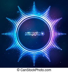 Bright shining blue neon sun at dark cosmic background