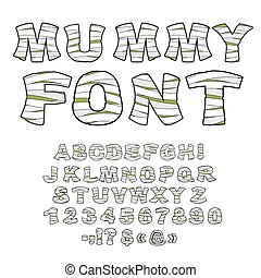 Mummy font Alphabet in bandages Monster zombie Letters of...