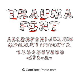 Trauma font. Crippled letters wrapped medical bandages....