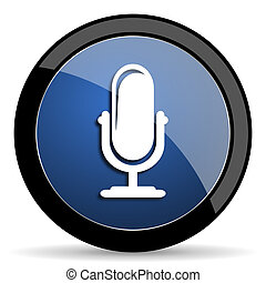microphone blue circle glossy web icon on white background,...