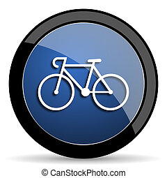 bicycle blue circle glossy web icon on white background,...