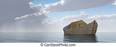 Noahs Ark after the storm - Computer generated 3D...
