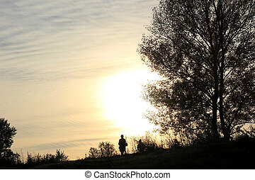 Silhouettes in sunset - Man and woman behold the sunset in...