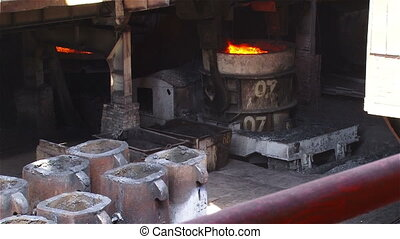 Shipping forms for steel billets - Hot steel pouring in...