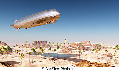 Airship - Computer generated 3D illustration with an airship...