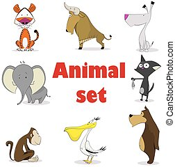 Set of animals. Cartoon and vector isolated characters.