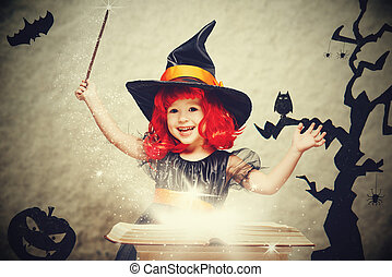 Halloween. cheerful little witch with magic wand and book...