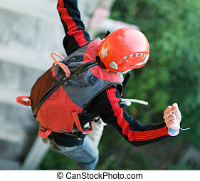 Extreme sports Ropejumping - MOSCOW, RUSSIA - June 3, 2007 -...