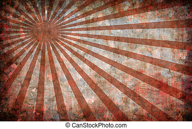abstract red vintage grunge background with sun rays for...