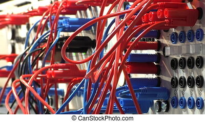 Connections control panel loop - Close up of network control...
