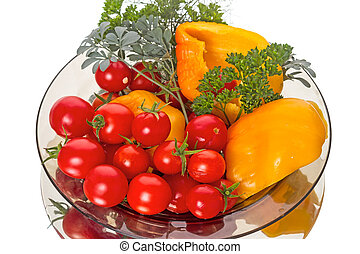Vegetables on a plate - Fresh Vegetables on a plate isolated...