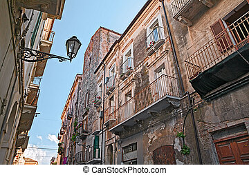 old town of Ortona, Abruzzo , Italy - view from the bottom...