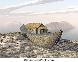 Noahs Ark on Mount Ararat - Computer generated 3D...