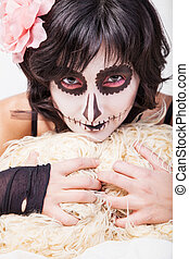 Woman with make-up for Halloween - Portrait of young woman...