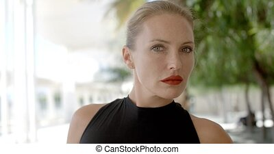 Portrait of Beautiful and Sexy Business Woman in Slow Motion...