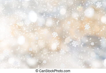 Abstract christmas background with falling snow flakes.