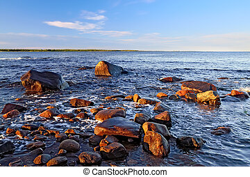 Shore of the White sea on a summer evening Karelia, Russia -...